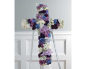 Purple Lavender & White Cross in Miami FL, Creation Station Flowers & Gifts