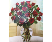 18 Red Roses in Brownsburg IN, Queen Anne's Lace Flowers & Gifts