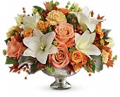 Teleflora's Harvest Shimmer Centerpiece in Edmonton AB, Petals For Less Ltd.