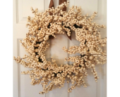 Cream Berry Wreath in Richland MI, Bloomers