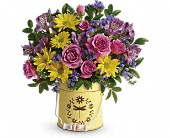 Mulberry Flowers - Teleflora's Blooming Pail Bouquet - Bradley Flower Shop