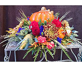 Blown Glass Pumpkin Centerpiece in Redmond WA, Bear Creek Florist