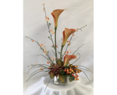 Silk Calla Lily Arrangement in Charleston IL, Noble Flower Shop