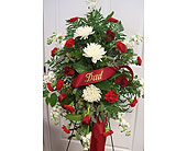 Easel Arrangement in red and white in Fairview PA, Naturally Yours Designs