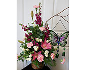 Arrangement with Butterfly Chimes in Fairview PA, Naturally Yours Designs