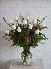 One Dozen Ultimate White Roses in Raleigh NC, Johnson-Paschal Floral Company