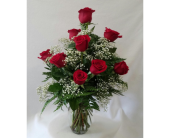 Dozen Red Roses with Filler in Charleston IL, Noble Flower Shop