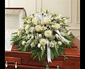 White Mixed Half Casket Spray in Woodbridge, Virginia, Brandon's Flowers