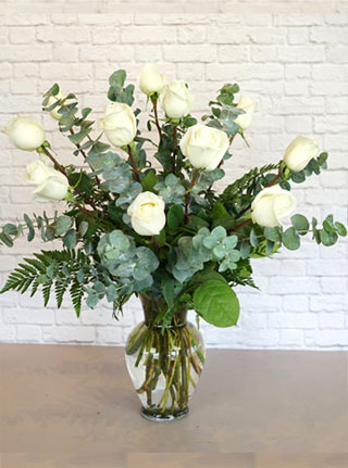 One Dozen Premium White Roses in Omaha NE, Stems Florist