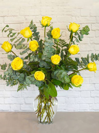 One Dozen Premium Yellow Roses in Omaha NE, Stems Florist