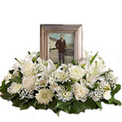 White Cremation Wreath in Omaha NE, Stems Omaha