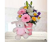 It's A Girl Mug - Deluxe with Stuffed Animal in Dallas TX, In Bloom Flowers, Gifts and More