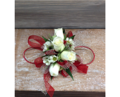 Red, Ivory & Glitter Corsage in Smyrna GA, Floral Creations Florist