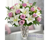 Marquis by Waterford Purple Rose & Lily Bouquet in Huntington WV, Archer's Flowers, Inc.