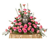 Roses & Carnations Urn Arrangement in Dallas TX, In Bloom Flowers, Gifts and More