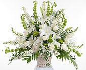 Elegant White Basket Arrangement in Dallas TX, In Bloom Flowers, Gifts and More