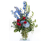 Patriotic Vase Arrangement in Dallas TX, In Bloom Flowers, Gifts and More