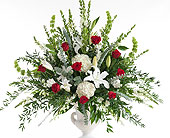 Red & White Pedestal Arrangement in Dallas TX, In Bloom Flowers, Gifts and More