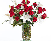 Red & White Vase Arrangement in Dallas TX, In Bloom Flowers, Gifts and More