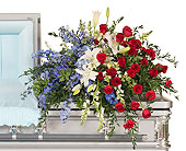 Patriotic Casket Spray in Dallas TX, In Bloom Flowers, Gifts and More