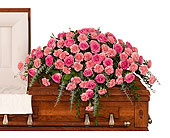 Roses & Carnations Casket Spray in Dallas TX, In Bloom Flowers, Gifts and More