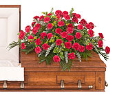 Classic Carnation Casket Spray in Dallas TX, In Bloom Flowers, Gifts and More