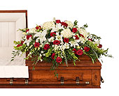 Red & White Casket Spray in Dallas TX, In Bloom Flowers, Gifts and More