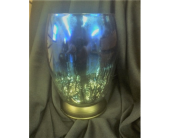 HAND BLOWN MERCURY GLASS BORDEAUS LAMP BLUE/SILVER in Moline IL, K'nees Florists