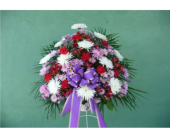 Standing Basket- Red, Purple, and White in Islip NY, Flowers by Chazz