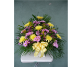 Floor Basket- Lavender and Yellow in Islip NY, Flowers by Chazz