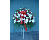 Large Standing Basket- Red & White in Islip NY, Flowers by Chazz