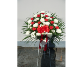 Red&White Standing Basket in Islip NY, Flowers by Chazz