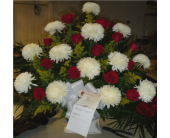 Floor Basket- Mums, Roses, and Solidago in Islip NY, Flowers by Chazz