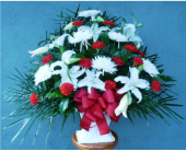 Floor Basket- Mums, Lilies, and Carnations in Islip NY, Flowers by Chazz