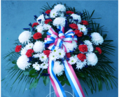 Standing Basket- Red, White, and Blue in Islip NY, Flowers by Chazz