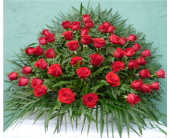 Floor Wicker Basket- All Red Roses in Islip NY, Flowers by Chazz