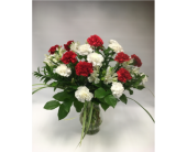 Red and White Carnations in Belleville ON, Live, Love and Laugh Flowers, Antiques and Gifts