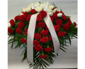 Casket Spray- Red Carnations & White Roses in Islip NY, Flowers by Chazz