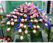 Casket Spray- Roses, Delphinium, and Lilies in Islip NY, Flowers by Chazz