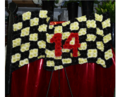 Custom Racing Checkered Flag in Islip NY, Flowers by Chazz