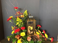 DEER LANTERN WITH ARRANGEMENT in Bay City, Michigan, Keit's Flowers