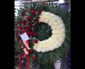 Custom Rose and Mum Tribute wreath in Staten Island, New York, Evergreen Florist