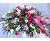 RED ROSE AND WHITE FLOWER CASKET SPRAY in Ossining NY, Rubrums Florist Ltd.