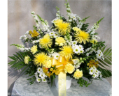 YELLOW AND WHITE FUNERAL BASKET in Ossining NY, Rubrums Florist Ltd.