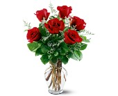 6 Red Roses in Rancho Cordova CA, Roses & Bows Florist Shop
