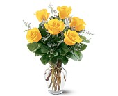 6 Yellow Roses in Wichita KS, Tillie's Flower Shop