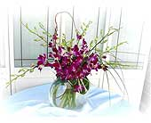 Blooming Orchids in Moon Shape Vase in Lake Forest CA, Cheers Floral Creations