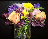 Square Vase-Freesia, Roses, Lilac & Sweet Peas in New York NY, Fellan Florists Floral Galleria