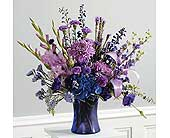 Purple Monochromatic Vase Arrangement in Clovis CA, A Secret Garden