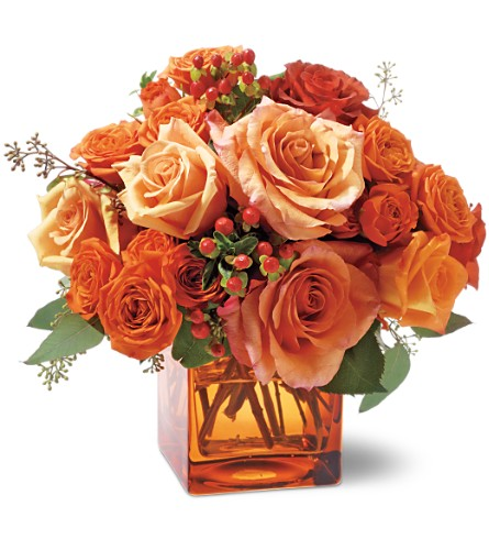 Teleflora's Orange Rose Mosaic in Oklahoma City OK, Array of Flowers & Gifts